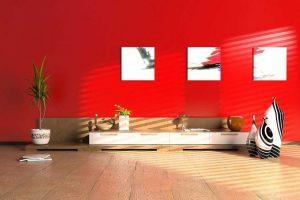 Phòng khách nổi bật với sắc đỏ đem đến sự khác biệt đầy cuốn hút.