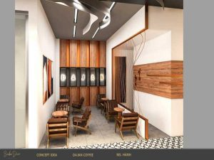 thiết kế quán cafe chất liệu gỗ