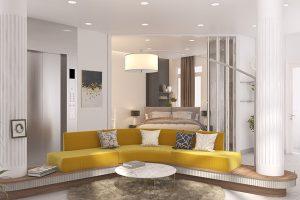 Phòng khách nổi bật với bộ ghế sofa sang trọng. Thiết kế đơn giản nhưng độc đáo. Màu vàng thiết kế lồng ghé nhẹ nhàng và tinh tế.