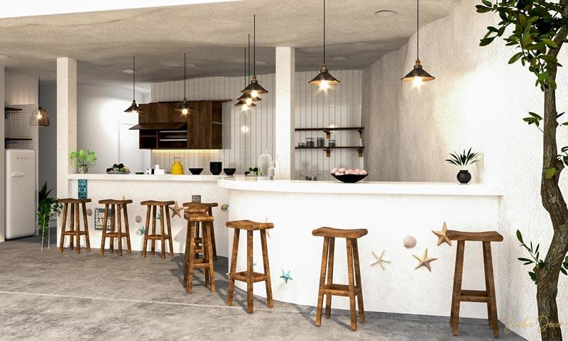 phòng bếp homestay