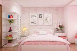 Không gian phòng ngủ đáng yêu, mang nét đẹp dịu dàng nữ tính dành riêng cho phái đẹp. Với tone màu hồng đáng yêu, cùng thiết kế đơn giản làm cho căn phòng trở nên ngọt ngào. Các bạn nữ có thích thiết kế phòng ngủ này không nào?