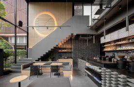 Không gian quán cafe khung theo có kếp cấu gọn nhẹ và tiện dụng.