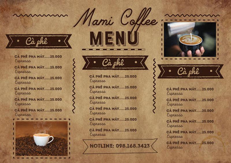 Cách thu hút khách hàng quán cafe menu