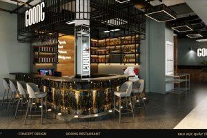 Ghế ngồi ở quầy bar thường là ghế cao, có thể xoay được và thiết kế phần tựa lưng thoải mái cho khách.