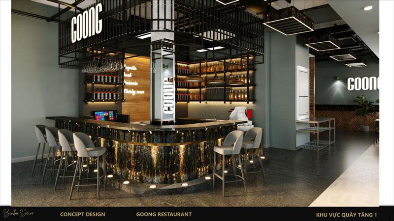 kích thước quầy bar cafe ghế