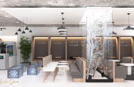Không gian thoáng mát, bình yên bởi thiết kế đơn giản từ nội thất gỗ kết hợp với những chiếc đèn thả hình dĩa sẽ là ý tưởng thiết kế hay.